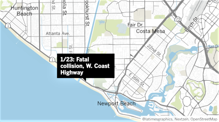 A Huntington Beach man died Sunday following a collision on Coast Highway in Newport Beach.