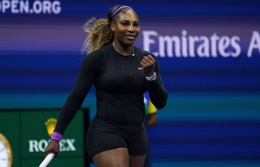 Serena Williams celebrates her victory over Elina Svitolina during the U.S. Open women's semifinals in New York on Thursday.