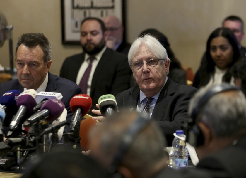 Martin Griffiths, center, and Peter Maurer during a new round of talks by Yemen's warring parties.