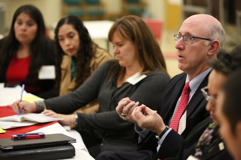 Gregory McGinity, the Broad foundation's managing director of policy, speaks at an invitation-only forum on Nov. 12, 2015 about the charter school expansion plan.