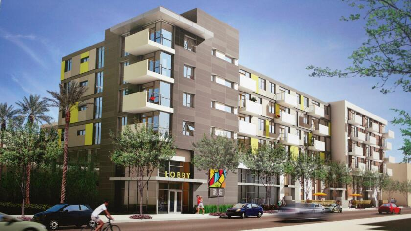 Artist rendering of the new Glendale Arts Colony being built on the Glendale YMCA campus. The $30 million, 70-unit is expected to open in 2016.