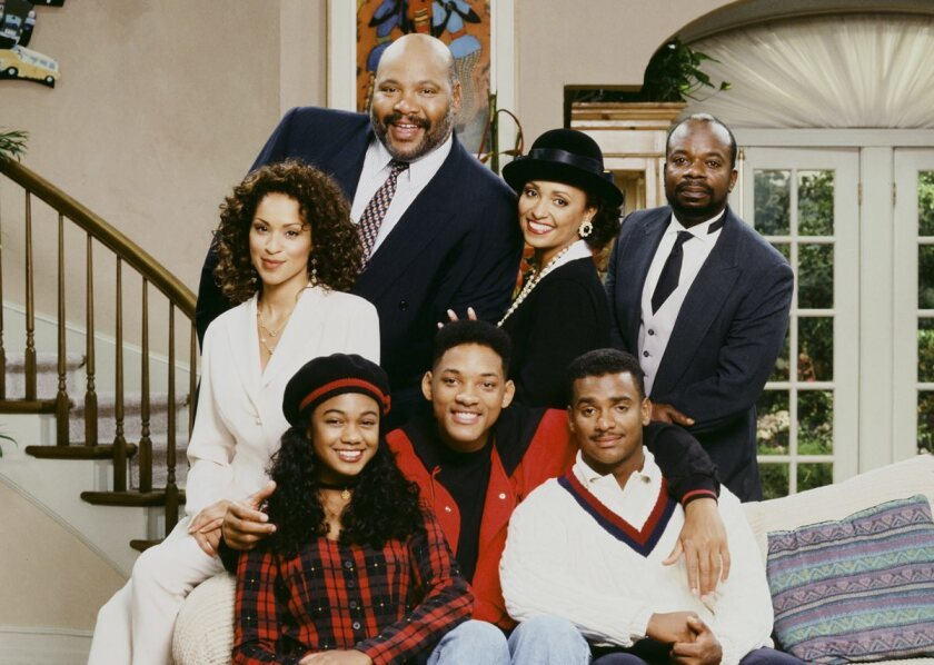 """Don't expect a reunion of """"The Fresh Prince of Bel-Air"""" any time soon. Alfonso Ribeiro (bottom, right) says a reboot is not likely after the 2013 death of James Avery (center, back)."""