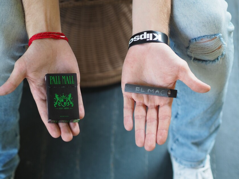 """Juul made my nicotine addiction a lot worse,"" says Lucas McClain, who is now back on cigarettes. ""When I didn't have it for more than two hours, I'd get very anxious."""