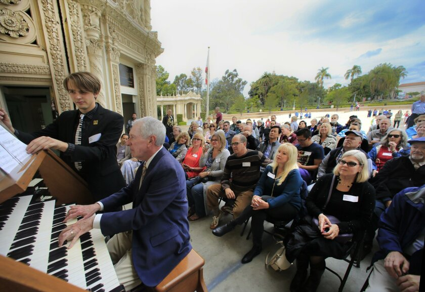 Jared Jacobsen, the civic organist from 1978 to 1985, plays the Spreckels Organ for a tour group in 2016. Jacobsen, who died in a car crash on Aug. 27, will be honored Nov. 23 with a celebration of life concert at the Spreckels Organ Pavilion.