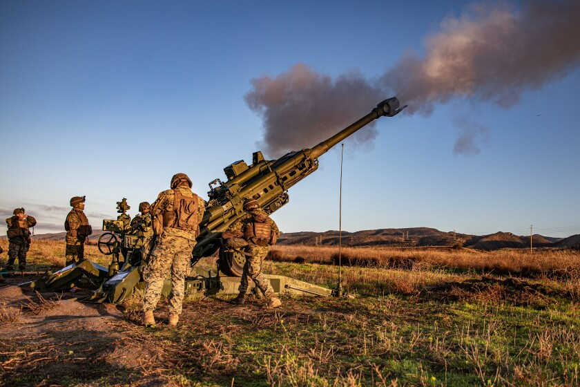 Marines from 1st Battalion, 11th Marine Regiment fire an M777 Howitzer at Camp Pendleton
