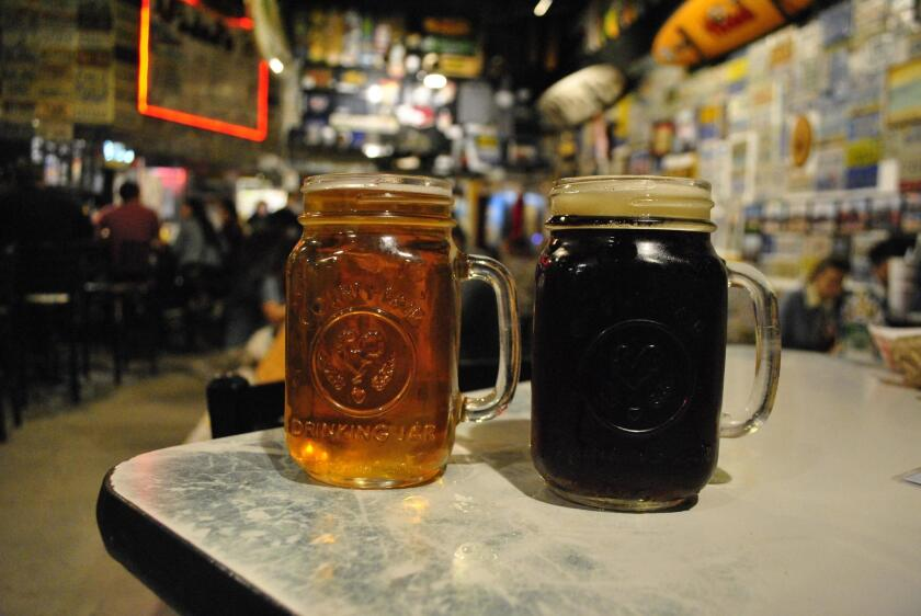Hodad's Local IPA and Throwback brown ale
