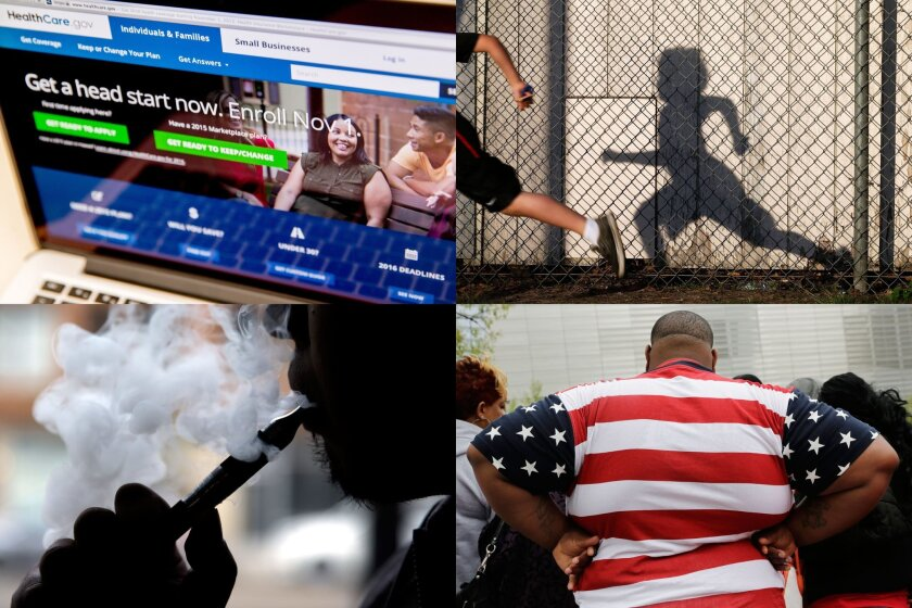 FILE - This combination of file photos shows the HealthCare.gov website on Oct. 6, 2015; students in an early morning running program at an elementary school in Chula Vista, Calif., on March 14, 2014; an electronic cigarette in Chicago on April 23, 2014; an overweight man with a shirt patterned with the U.S. flag in New York on Thursday, May 8, 2014. When the government launched what would become most influential survey to monitor the nation's public health 60 years ago, there were just 75 questions, and 95 percent of those asked agreed to sit for it. There are now 1,200 potential questions, and the average family takes more than 90 minutes to answer them. The refusal rate has gone up, as well: Thirty percent are refusing to take part. That has raised concerns that the survey has gotten too big.(AP Photo/Andrew Harnik, Gregory Bull, Nam Y. Huh, Mark Lennihan, Files)