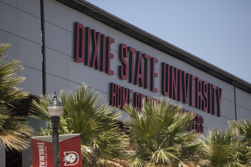Greater Zion Stadium at Dixie State University is shown Tuesday, June 30, 2020, in St. George, Utah. Dixie State University is considering dropping Dixie from its name as another example of the nation's reexamination of symbols associated with the Confederacy. (Chris Caldwell/The Spectrum via AP)