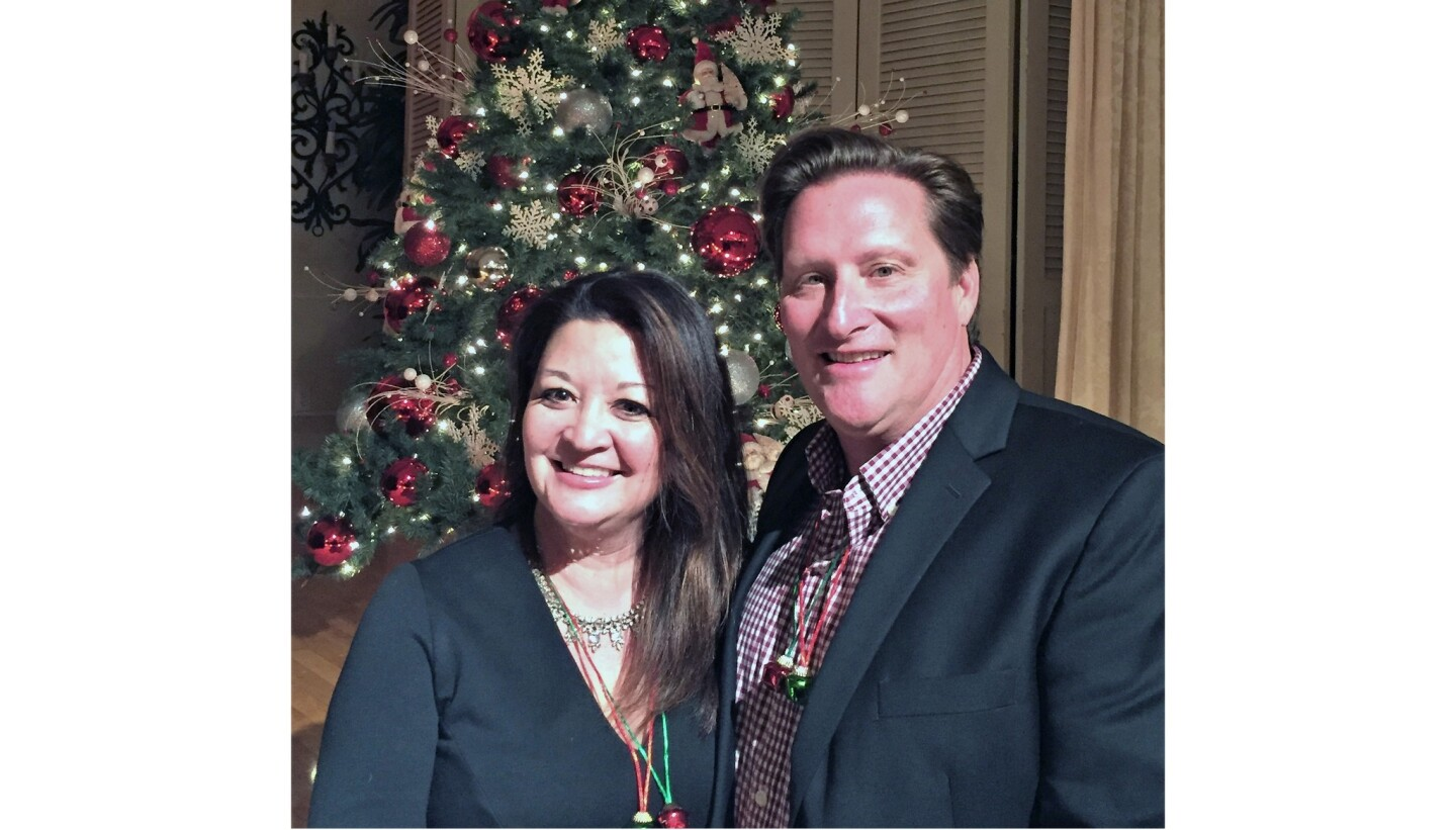 Nikki Bednar, chair of the Thursday Club holiday party, is shown with her husband, Kurt Bednar.
