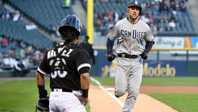 Padres left fielder Matt Szczur (23) runs toward home plate after hitting a home run against the Chicago White Sox during the first inning at Guaranteed Rate Field.