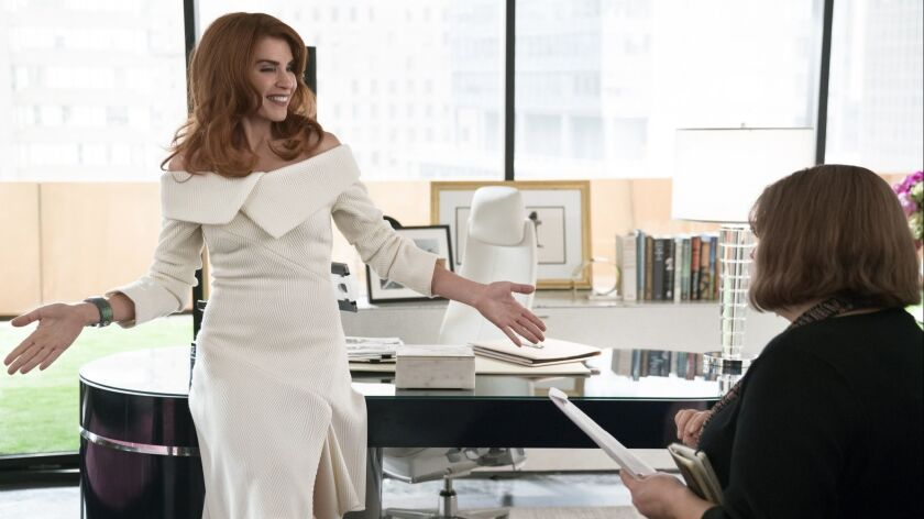 """Julianna Margulies as Kitty Montgomery and Joy Nash as Plum Kettle in a scene from """"Dietland"""" Credit"""
