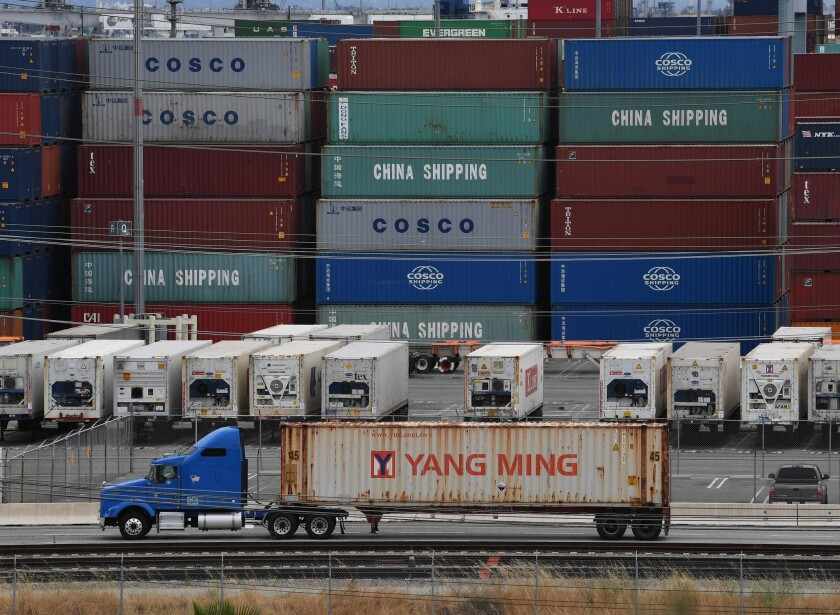 Unloaded containers from Asia are seen at the main port terminal in Long Beach on May 10.