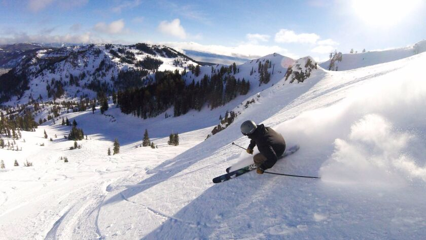 A skier navigates a run at Alpine Meadows near Lake Tahoe in 2016.