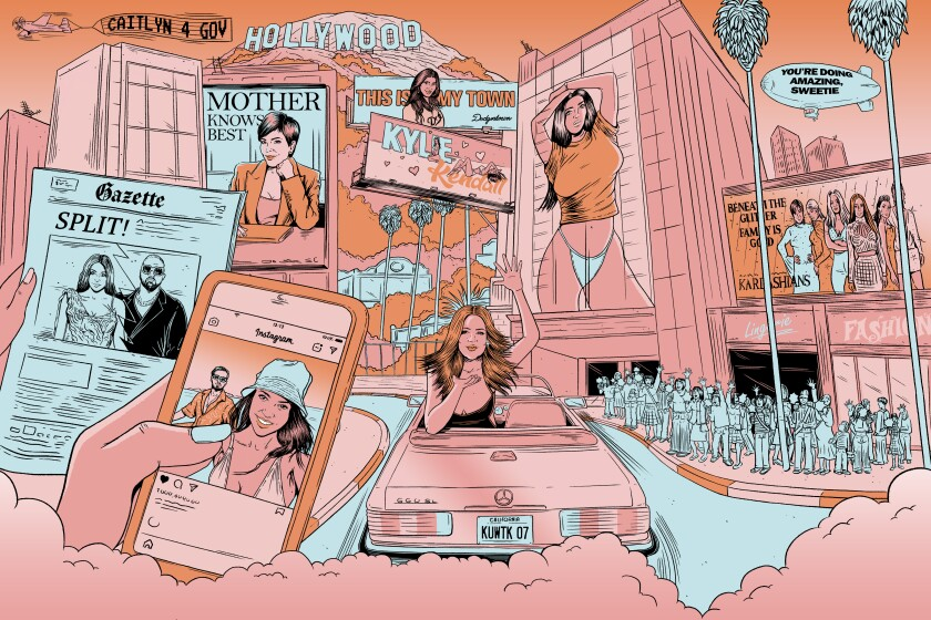 An illustration of the Kardashian family's takeover of Hollywood