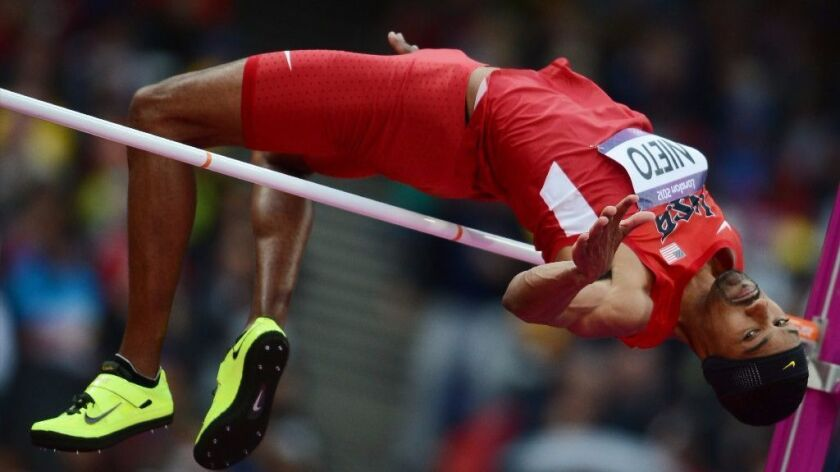 U.S. high jumper Jamie Nieto competes in the men's final at the 2012 London Olympic Games on August