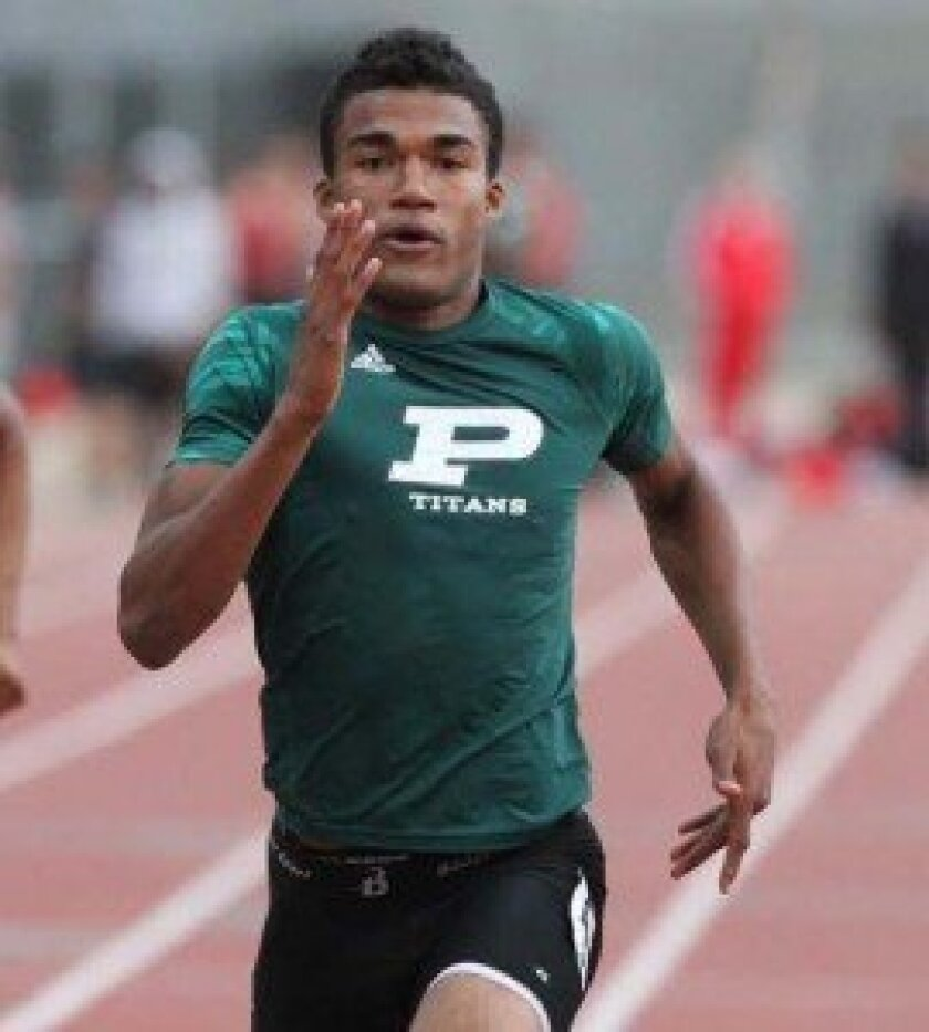 Poway High's Brandon Lucas broke the 2012 school record, running 21.18 in the 200 at Monday's Palomar League Championships at Poway High. Photo by Sherri Cortez