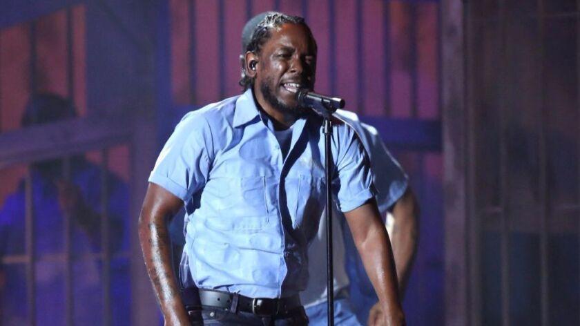 Kendrick Lamar performs at the 2016 Grammy Awards.