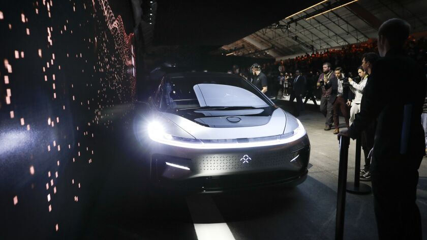 Faraday Future's FF91 electric car is unveiled during a news conference at CES International in Las Vegas in January 2017.