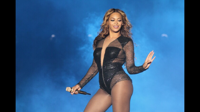 """Beyoncé at her """"On the Run"""" tour stop with hubby Jay Z at the Rose Bowl on Sunday."""