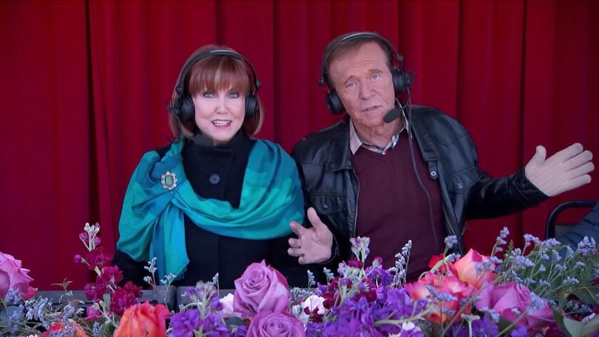 Stephanie Edwards and Bob Eubanks broadcast the 2016 Rose Parade