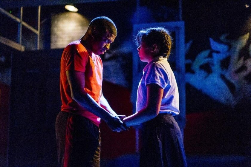"""Cortez. L. Johnson and Zoë Sonnenberg in Moxie Theatre's """"Brownsville song (b-side for tray)."""""""