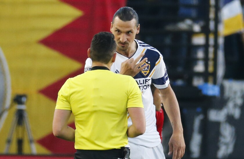 Galaxy forward Zlatan Ibrahimovic speaks with a referee during a win over Toronto FC on July 4.