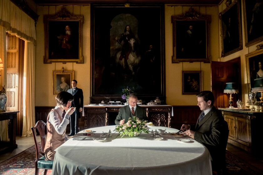 "Michelle Dockery stars as Lady Mary Talbot, Robert James-Collier as Thomas Barrow, Hugh Bonneville as Lord Grantham and Allen Leech as Tom Branson in ""Downton Abbey."""