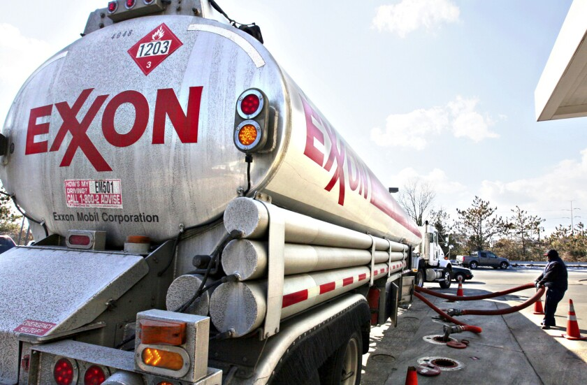 An Exxon Mobil ship sailed for 70 days off the coast of Singapore but never picked up fuel for California from the company's two refineries there. Above, an Exxon tanker truck.
