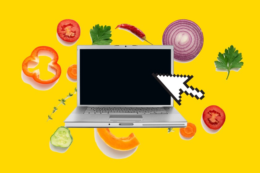 photo illustration of a computer and food ingredients
