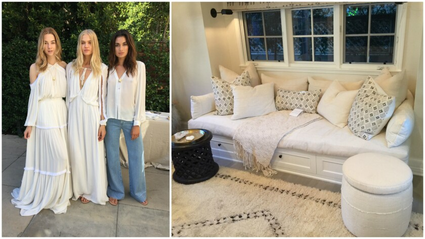 Looks from Erin Fetherston's Spring/Summer 2017 namesake collection, left, and pieces from her collaboration with Fragments Identity, right, on display in her new Hollywood home.