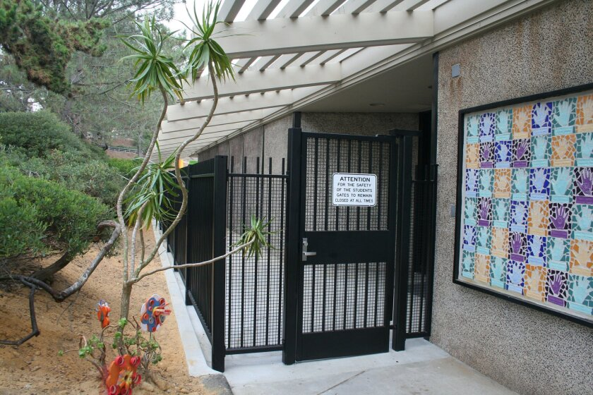 Gates control access at all Del Mar Union School District campuses, like this one at Del Mar Hills.