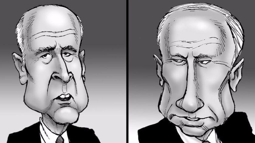Illustration (Jerry Brown and Vladimir Putin) by David Horsey