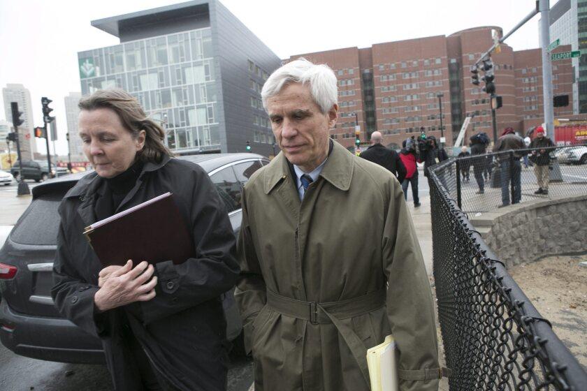 Dzhokhar Tsarnaev's defense attorneys Judy Clarke and David Bruck leave the John Joseph Moakley Federal Courthouse on April 8.