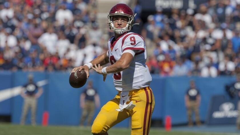 USC quarterback Kedon Slovis looks to pass against BYU.