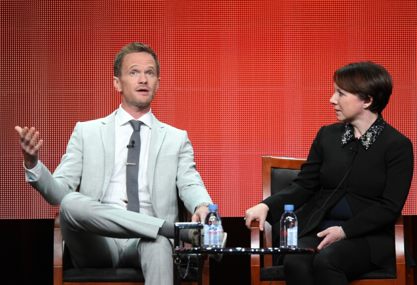 """Neil Patrick Harris and Siobhan Greene participate in the """"Best Time Ever With Neil Patrick Harris"""" panel at the NBCUniversal Television Critics Assn. summer press tour Thursday."""