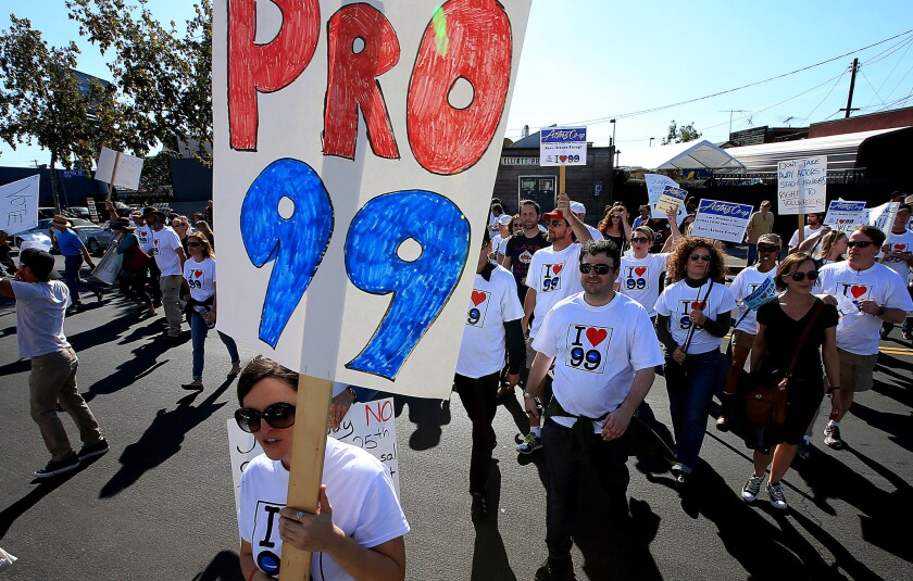 Members of Actors' Equity Assn. gathered in March in North Hollywood to protest the union's proposal to end the 99-seat theater plan in Los Angeles. That proposal has since been put into effect.