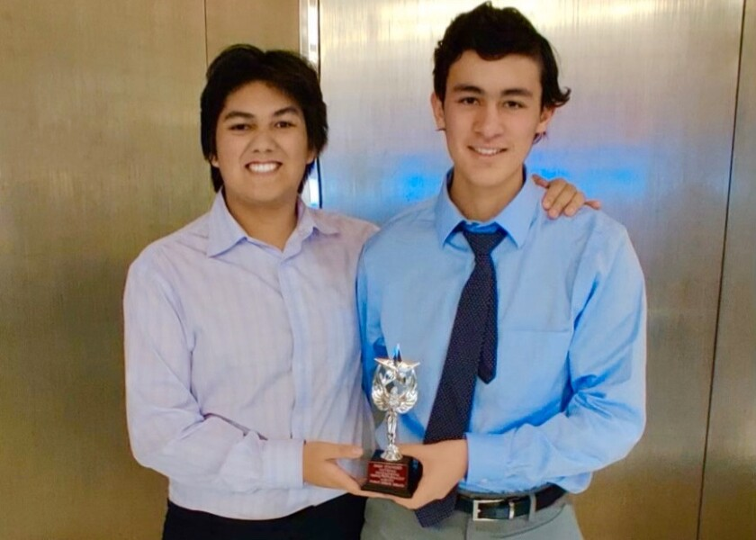CCA Debaters Danny An and Alex Tahan win Triples at the Stanford University Tournament.jpg