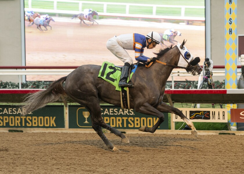 Nick Alexander's Connie Swingle and jockey Geovanni Franco win the Generous Portion Stakes.