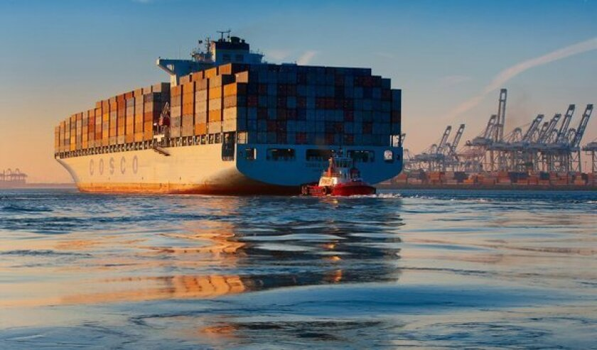 U.S. exports helped boost the country's economic growth in the third quarter. Above, a container ship enters the Port of Long Beach.