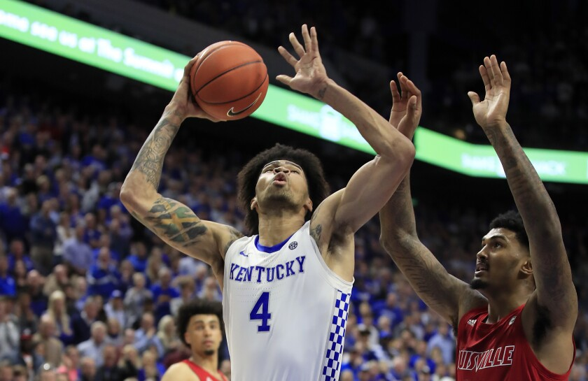 Kentucky's Nick Richards goes up for a shot in the Wildcats' 78-70 overtime win over Louisville on Dec. 28, 2019.