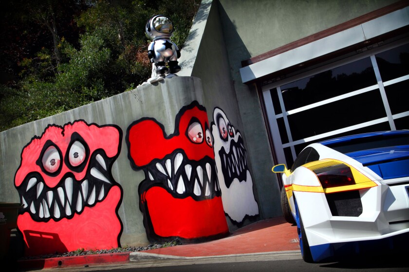 Murals outside Chris Brown's Hollywood Hills home.