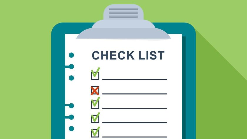 Checklist on a sheet of paper