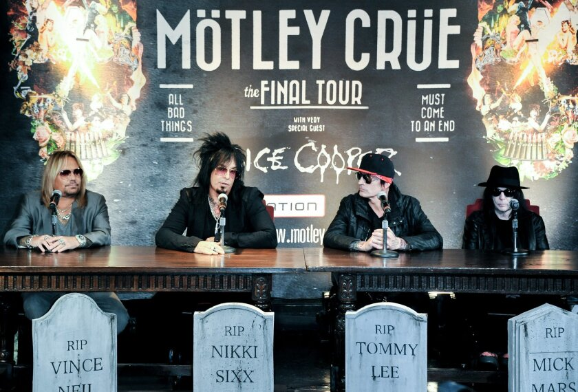 From left, Vince Neil, Nikki Sixx, Tommy Lee, and Mick Mars attend the Motley Crue Press Conference, Tuesday, Jan. 28, 2014, in Los Angeles. The heavy-metal band says it will retire after performing 72 goodbye concerts. The band made the announcement at their press conference. (Photo by Richard Sho