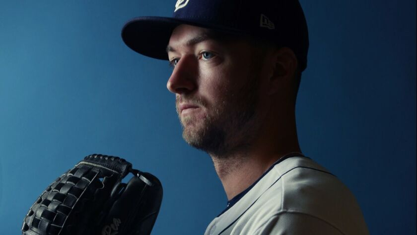 San Diego Padres pitcher Colin Rea on Feb. 21, 2018. (Photo by K.C. Alfred/ San Diego Union -Tribune)