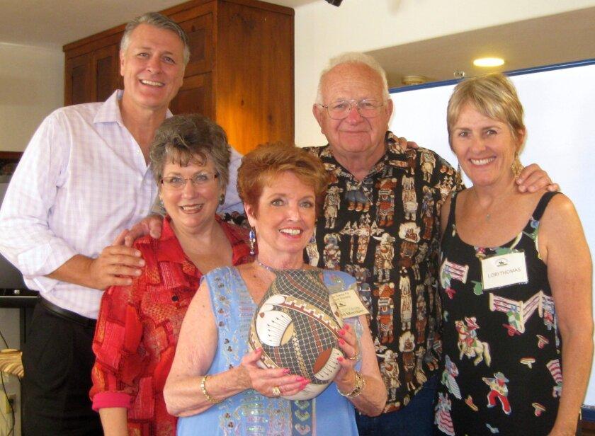 Rancho Santa Fe Historical Society President John Vreeburg, Administrator Sharon Alix, board member  Kathy McHenry, lecturer Dr. James Kemp, Events Committee member Lori Thomas. Courtesy photo