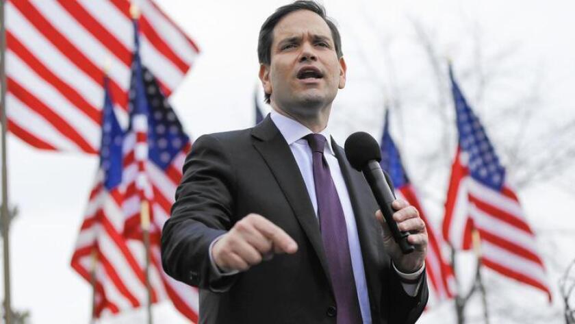 Marco Rubio, senador por la Florida de ascendencia cubana, es uno de los precandidatos republicanos que busca la nominación presidencial por el partido conservador.