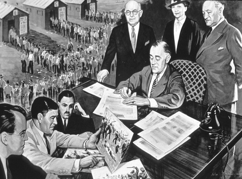 The practice of shifting employment to subcontractors or calling workers independent contractors helped inspire passage of the National Labor Relations Act signed by President Franklin D. Roosevelt in 1935.