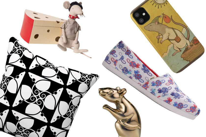 A throw pillow, phone case, shoe and figurines, all rat-themed.