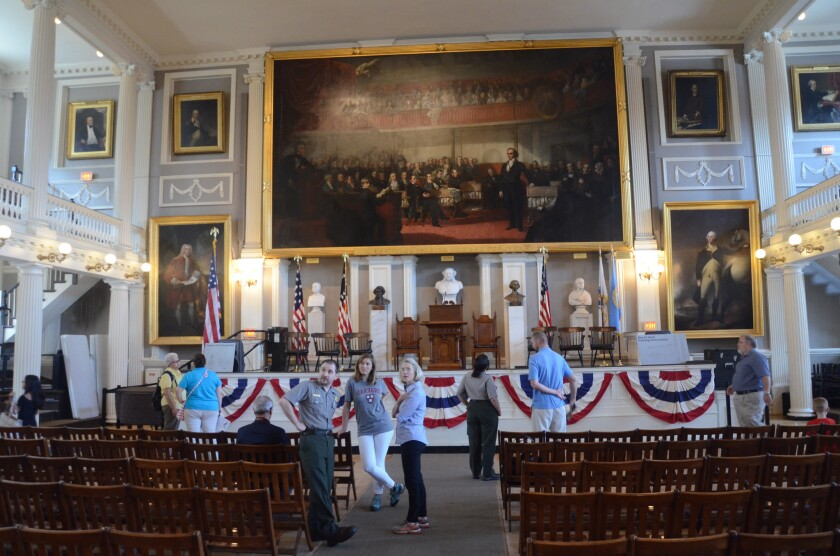 Faneuil Hall's upstairs Great Hall, a site of speeches and debates for more than 200 years, is a key attraction in Boston. It's part of Boston National Historical Park and the Freedom Trail route of historic structures.