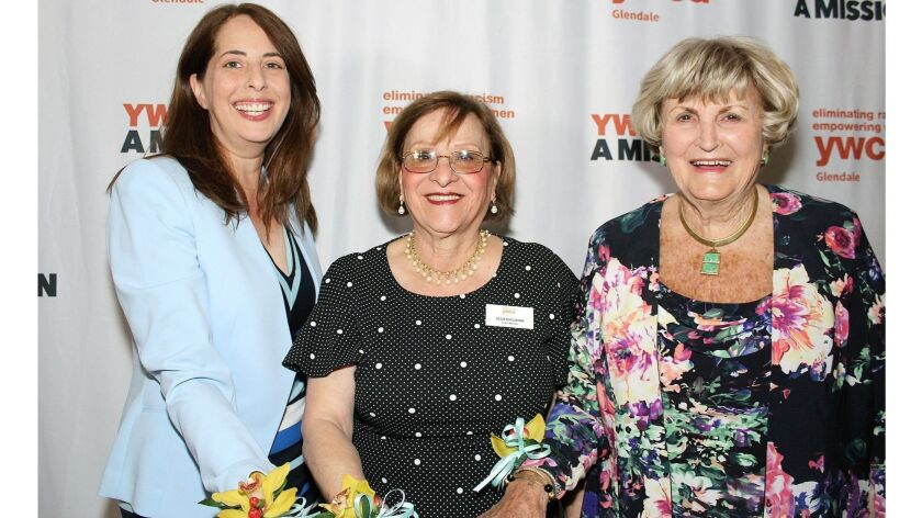 """Posing at the Legacy Luncheon are, from left, YWCA Glendale """"Heart & Excellence"""" honoree Elissa"""